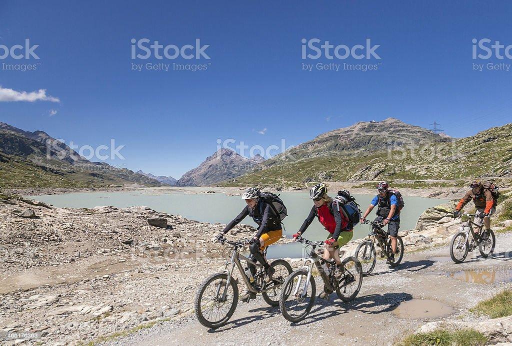Bernina Pass Biking, Switzerland stock photo