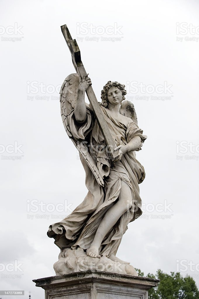 Bernini angel at st. angelo stock photo