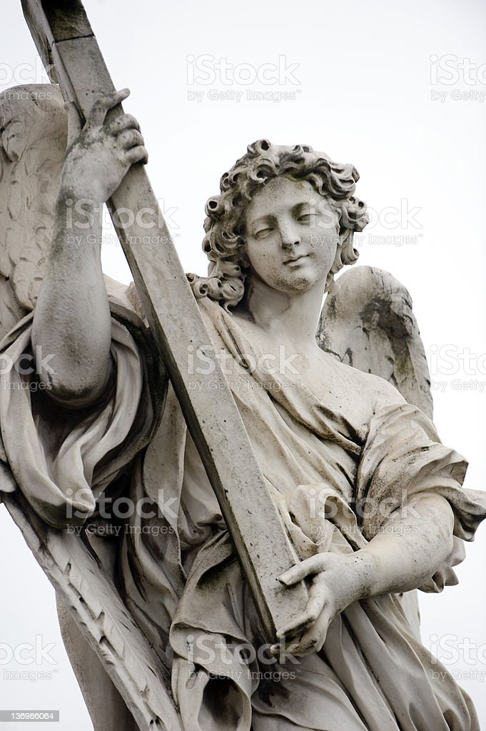 Bernini angel at St. Angelo, Rome stock photo