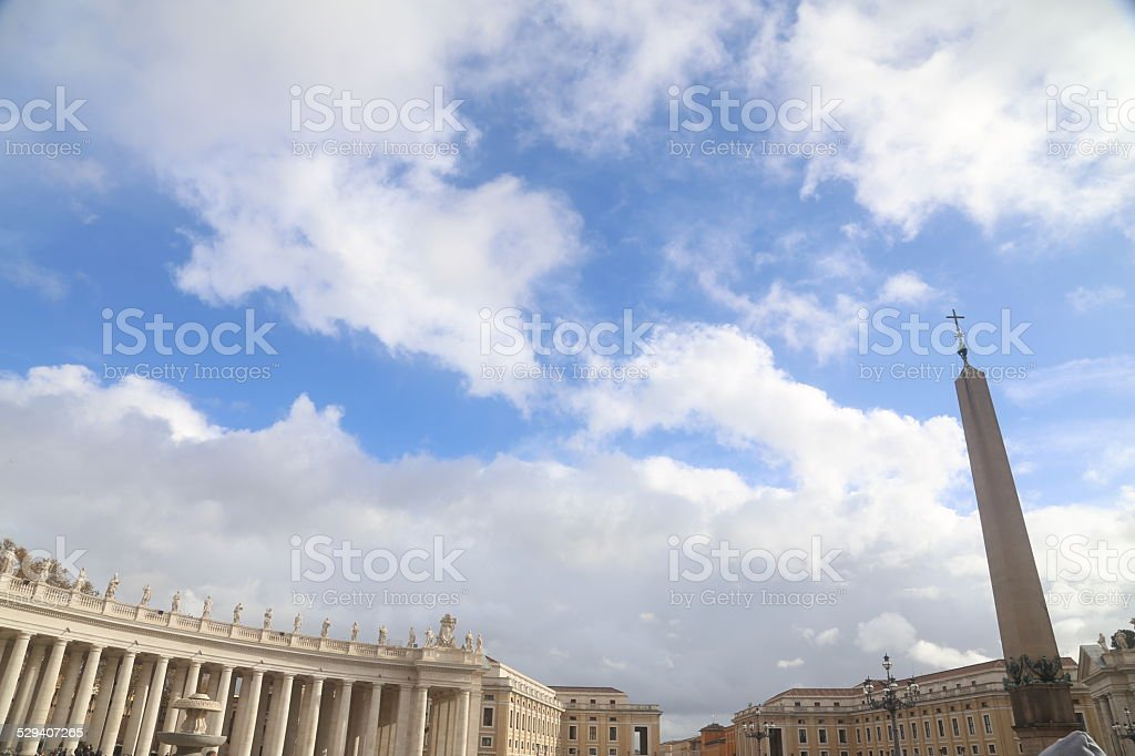Bernini's colonnade, St. Peter's Square, Vatican City stock photo