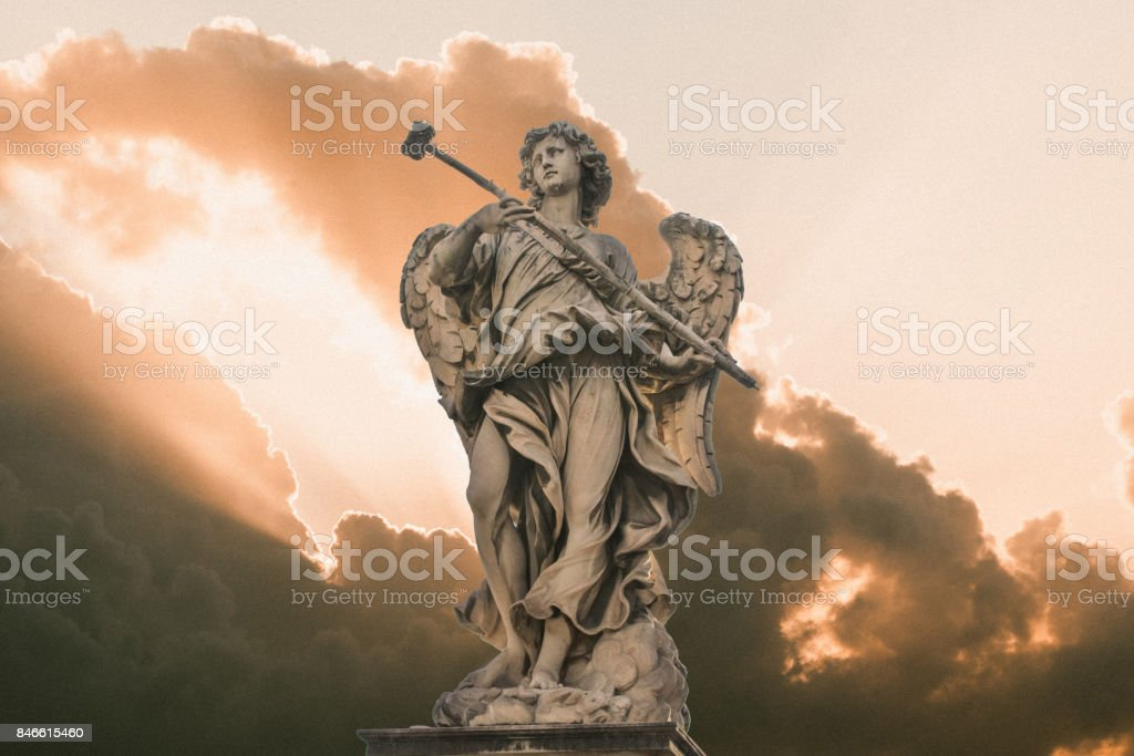 Bernini's marble statue of angel from the Sant'Angelo Bridge in Rome, Italy stock photo