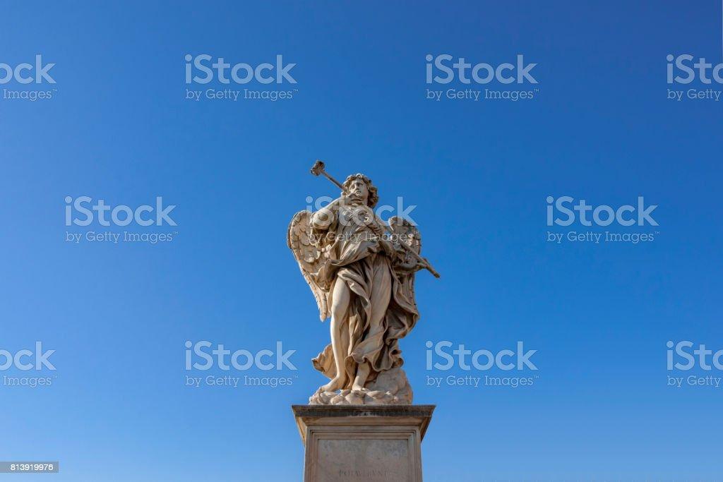 Bernini's marble statue of angel , Rome, Italy. stock photo