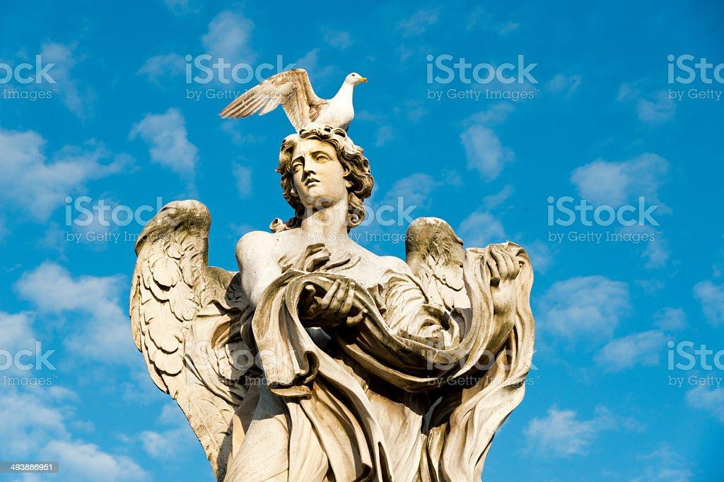 Bernini's Roman Angel with sea gull stock photo