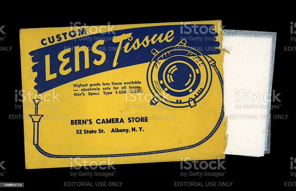 Bern's Camera Store lens tissues packet, c1956 stock photo