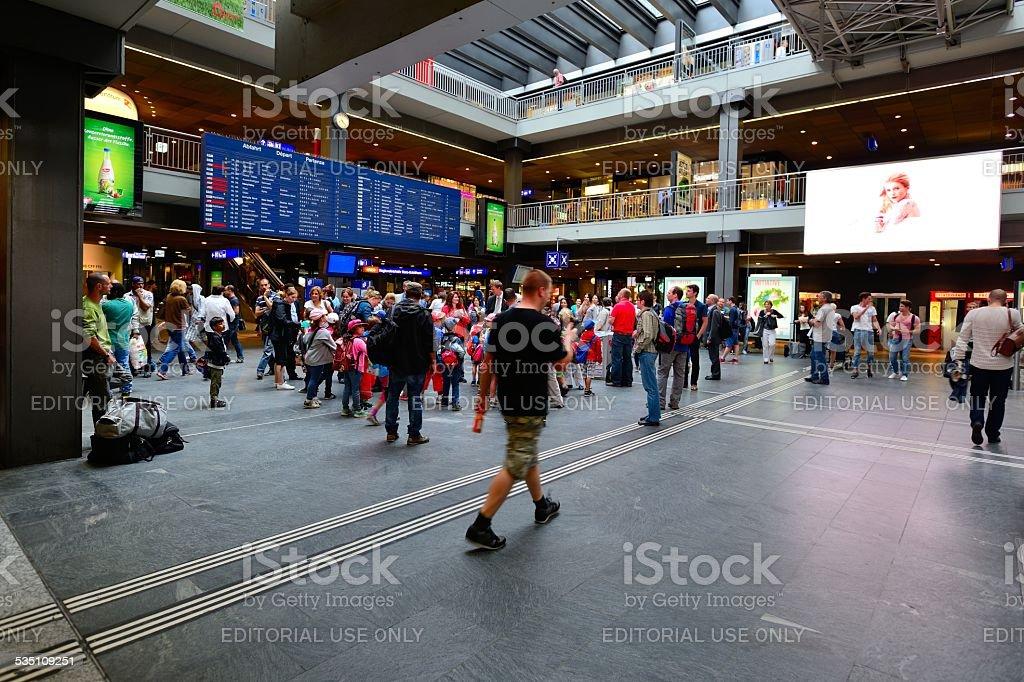 Bern-waiting passengers for the train stock photo