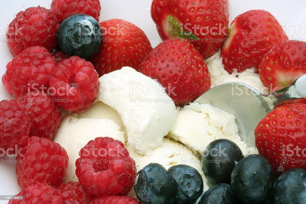 berries and ice cream stock photo