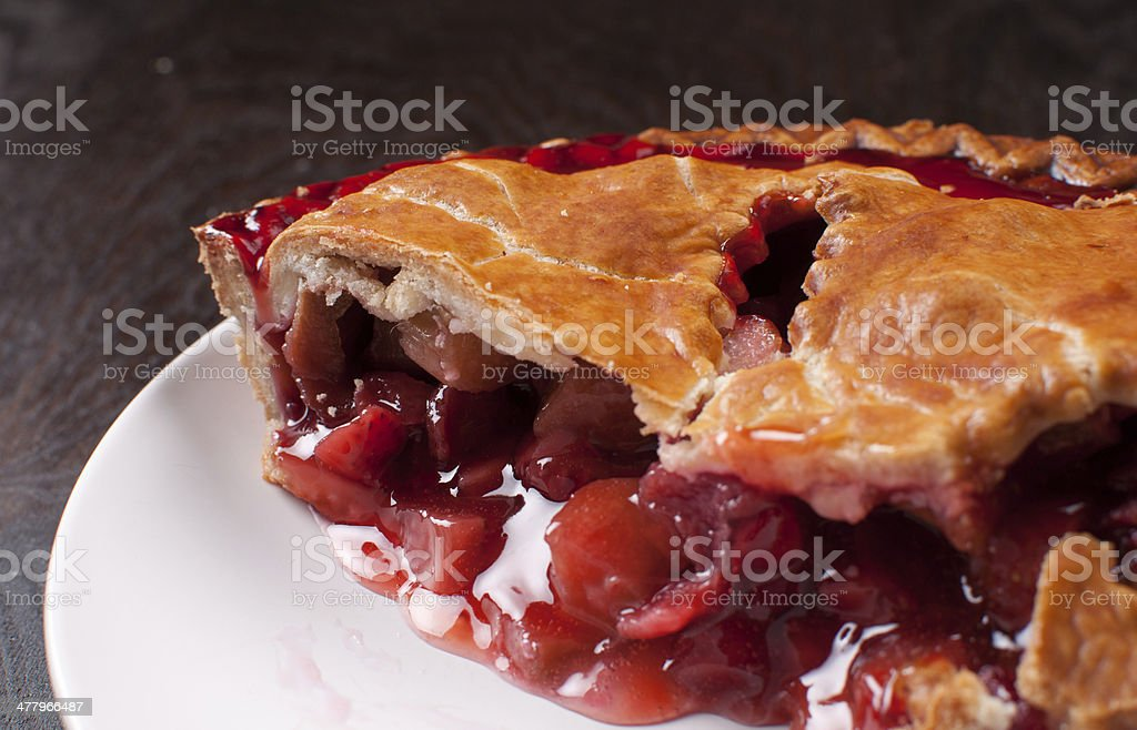 Berries and rhuharb pie crust stock photo