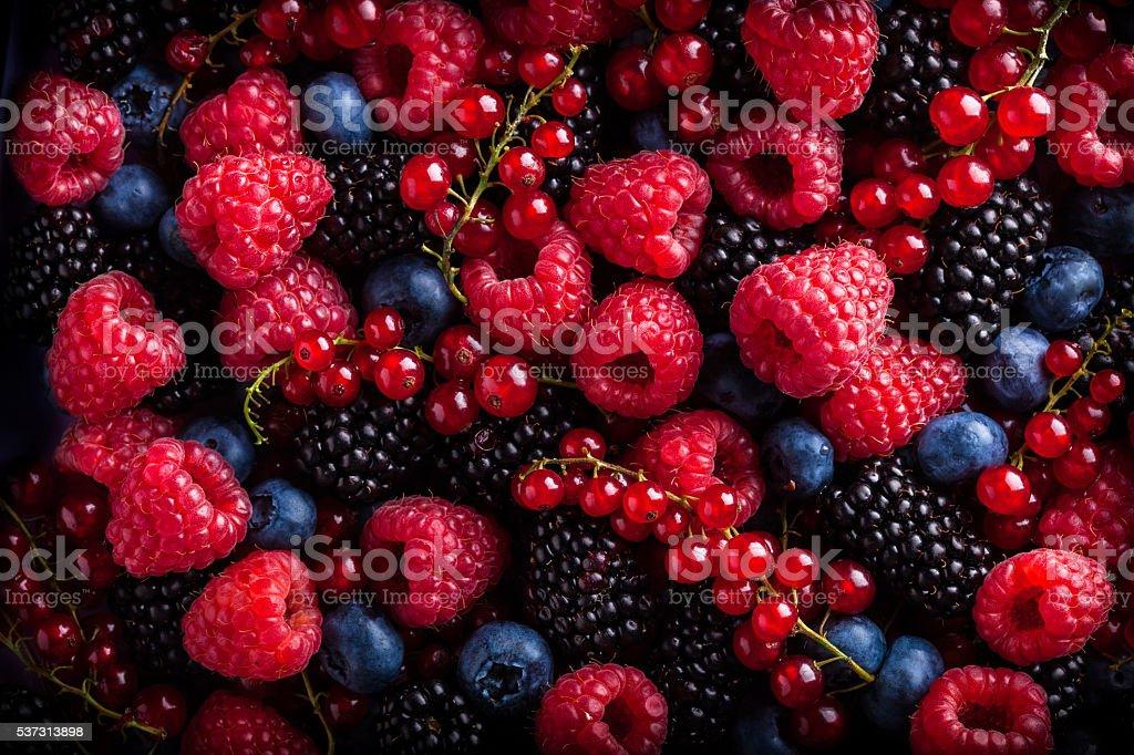 Berries assorted mix in studio stock photo