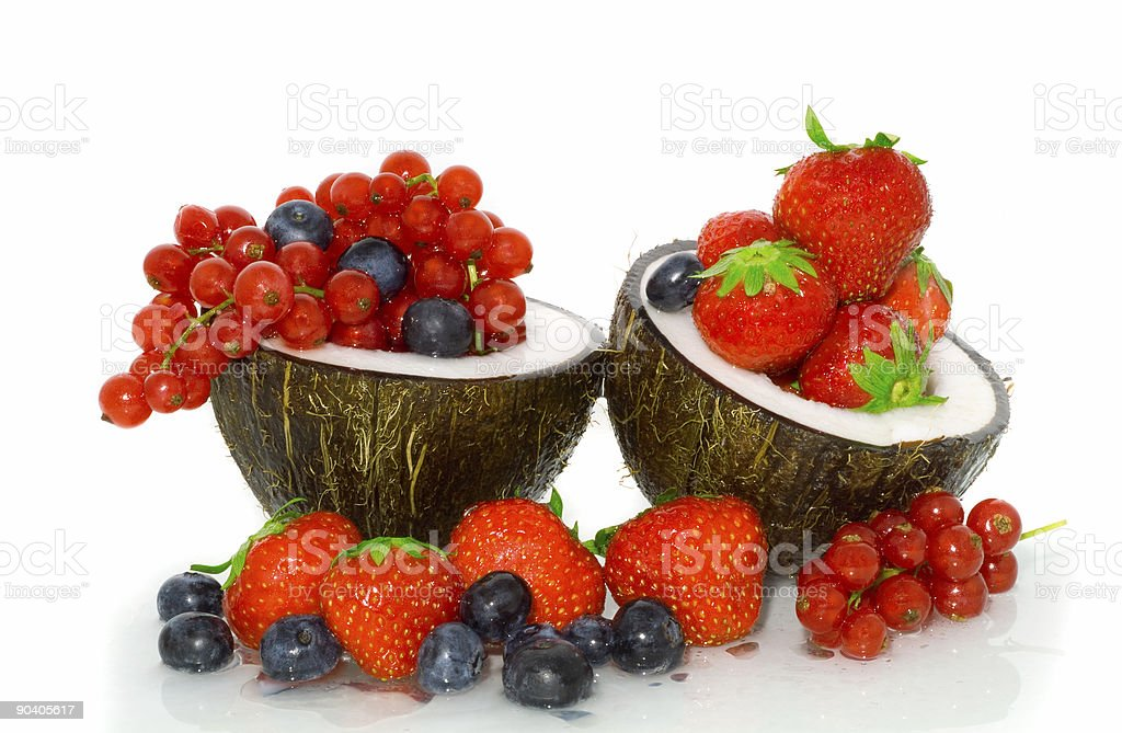 Berries in a coco. royalty-free stock photo