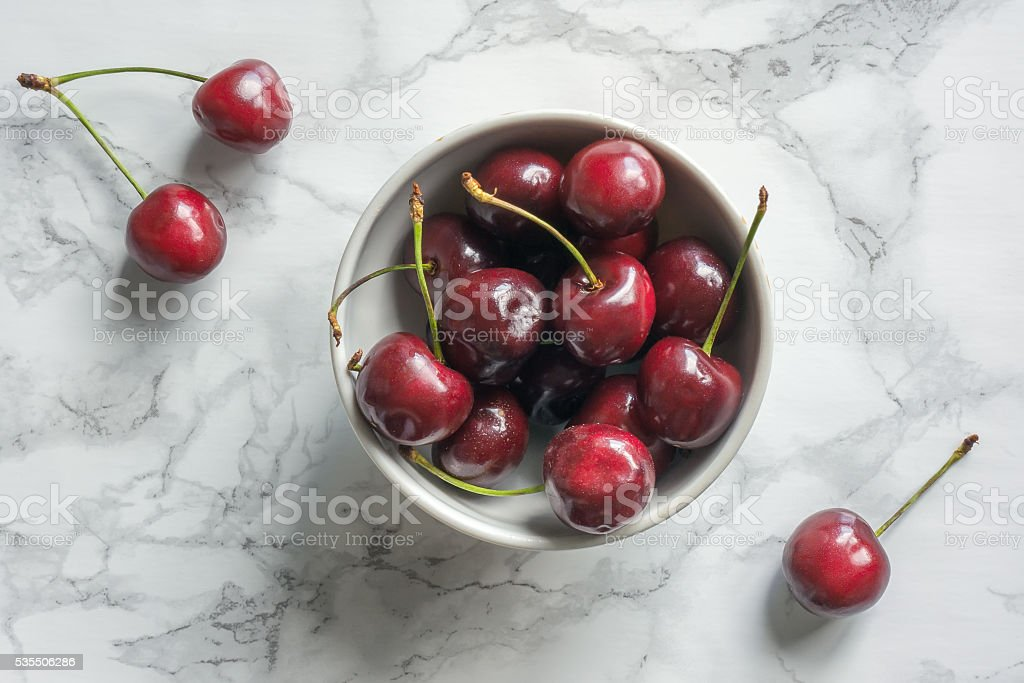 Berry cherry in plate stock photo