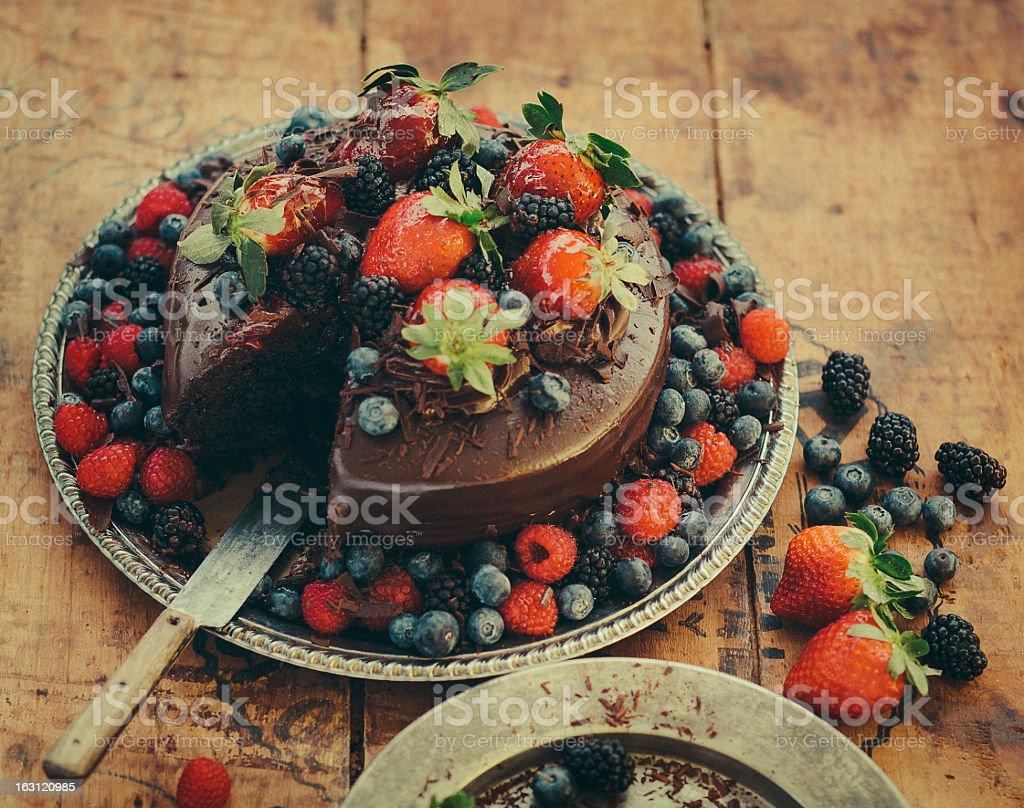 Berry Chocolate Cake royalty-free stock photo