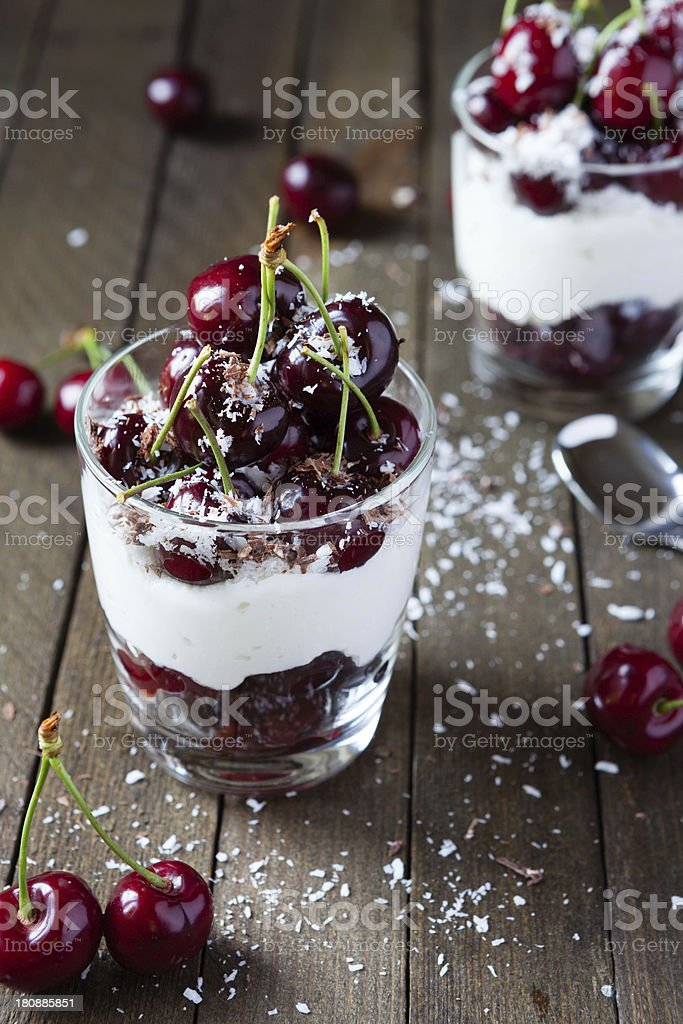 Berry dessert with cream royalty-free stock photo