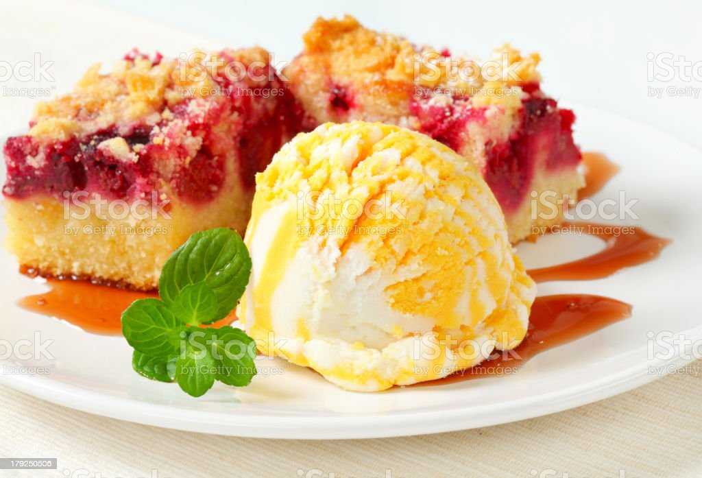 Berry fruit crumble slices with ice cream royalty-free stock photo