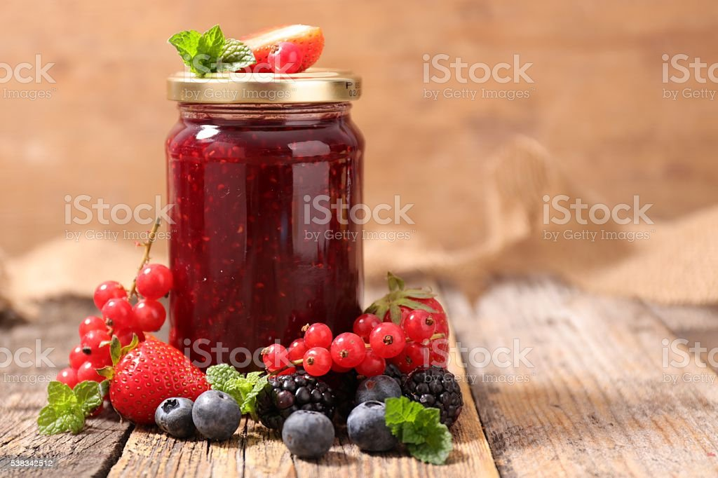 berry fruit jam stock photo