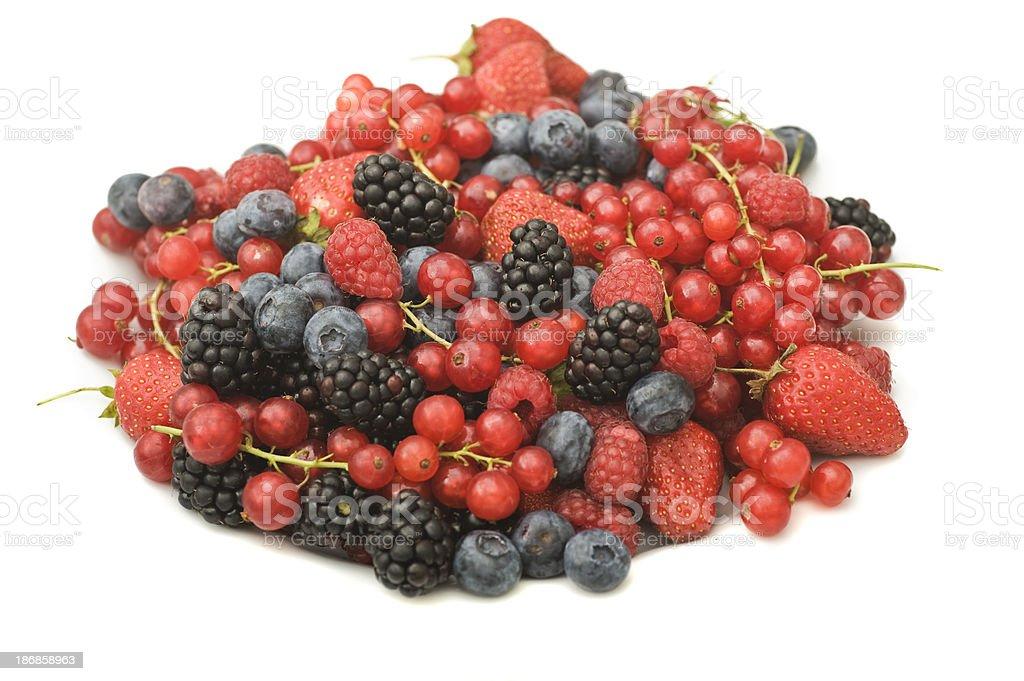 berry fruits - Beerenfrüchte isoliert auf weiß stock photo