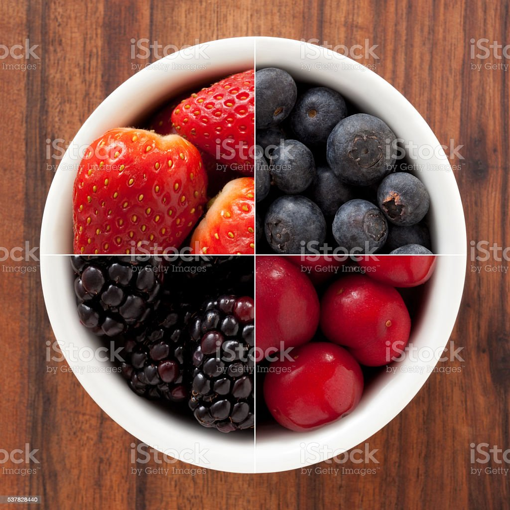Berry fruits composition stock photo