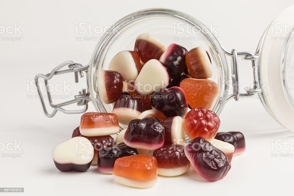 berry gummy yogurt candies stock photo