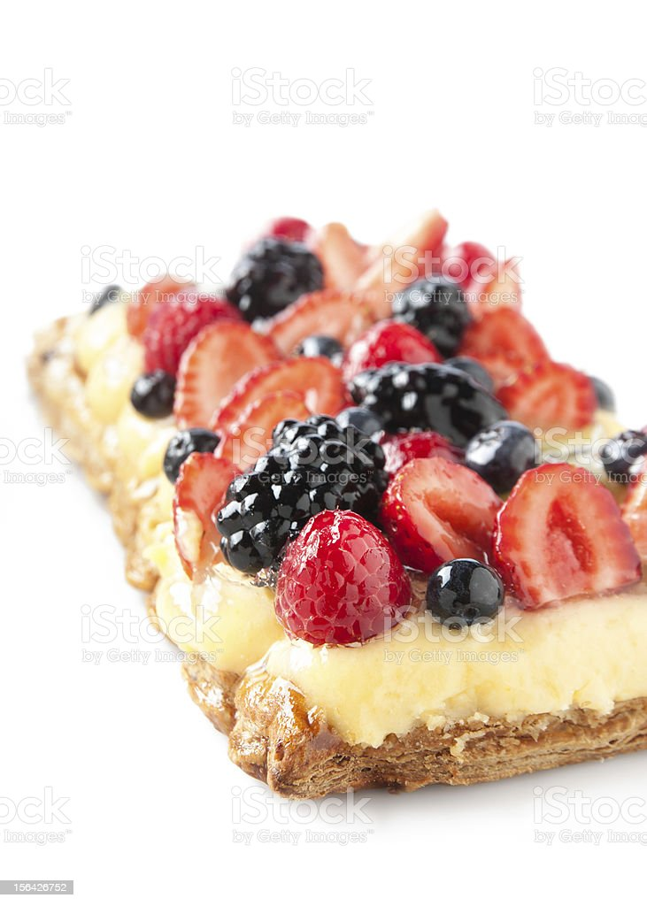 Berry pie and custard royalty-free stock photo