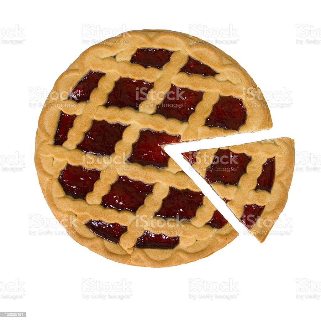 A berry pie with one piece cut out on a white background stock photo