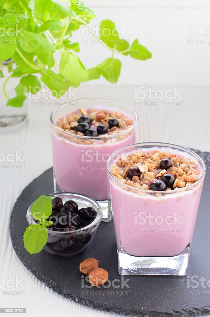 Berry yogurt with muesli stock photo