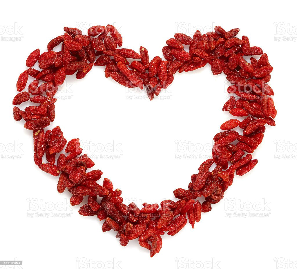 GOJI berryes heart shape bright red color royalty-free stock photo