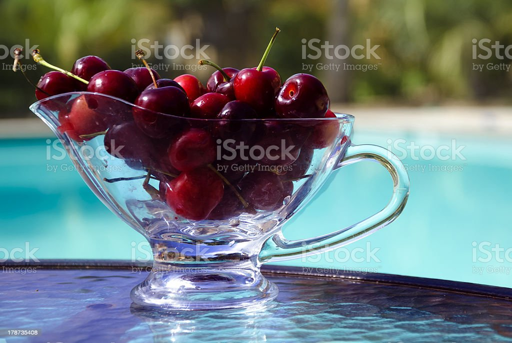 Berrys by the swimmimg pool stock photo
