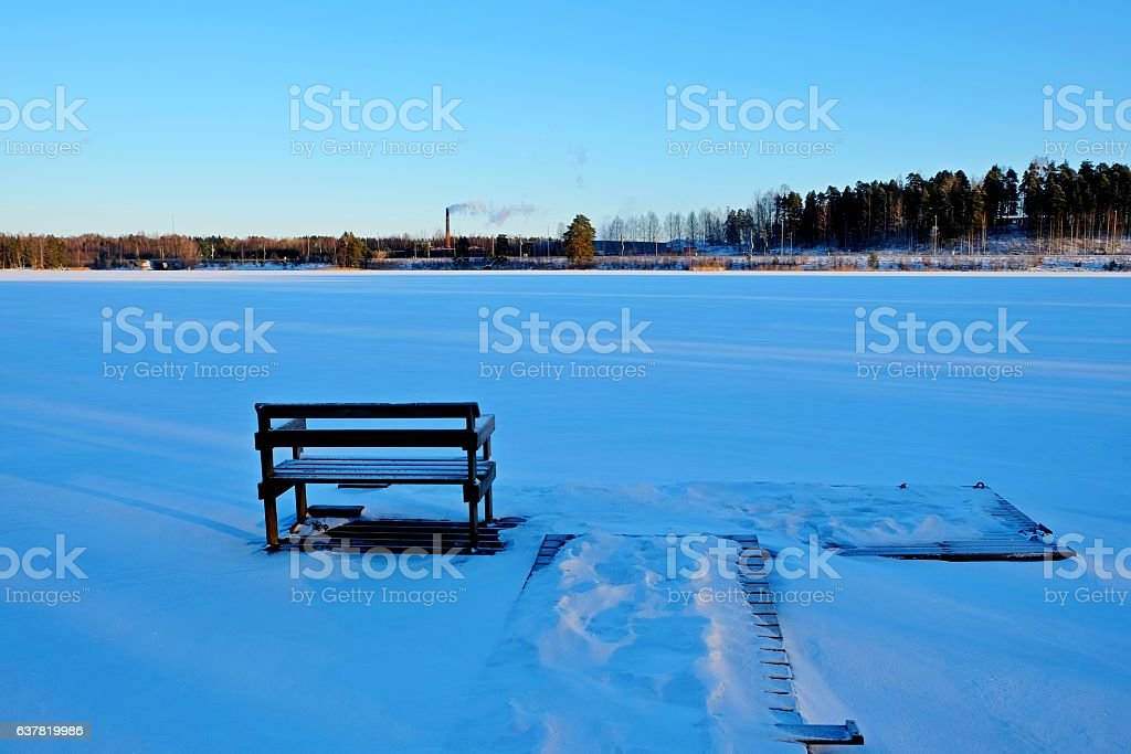 Berth in snow. stock photo