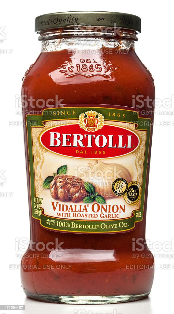 Bertolli Vidalia Onion with Roasted Garlic sauce jar stock photo