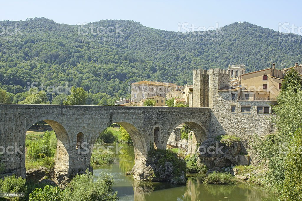 Besal? - Bridge over Riu Fluvi? stock photo