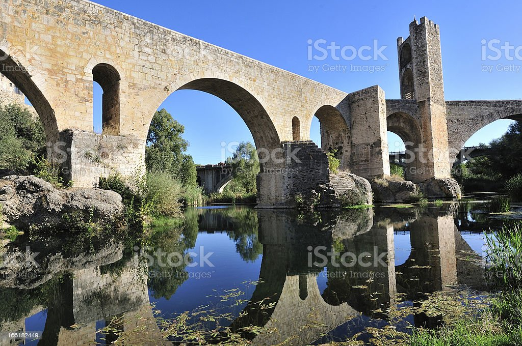 Besal? Medieval Bridge in Catalonia (Spain). Fluvi? River stock photo