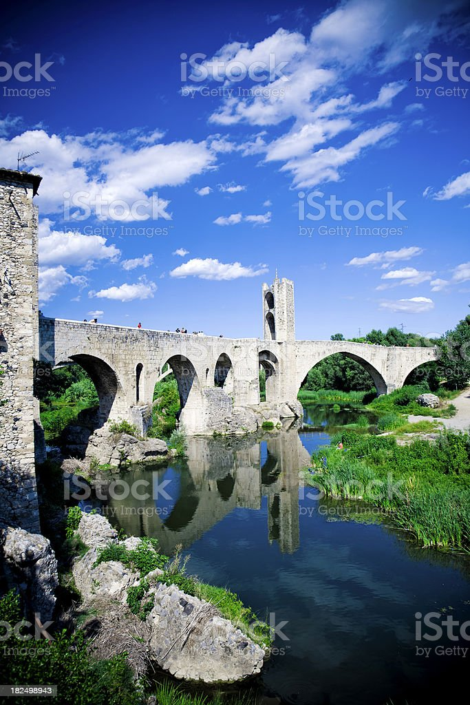 Besalú old bridge stock photo