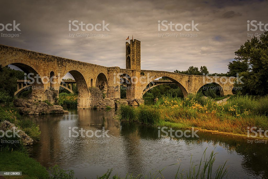 Besalu bridge stock photo