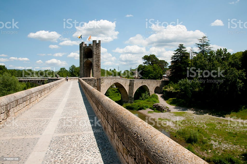 Besalu Bridge - Spain stock photo