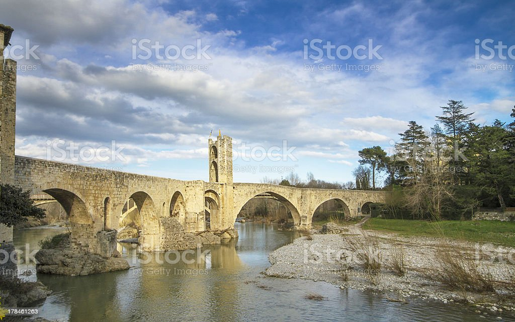 Besalu Roman Bridge stock photo