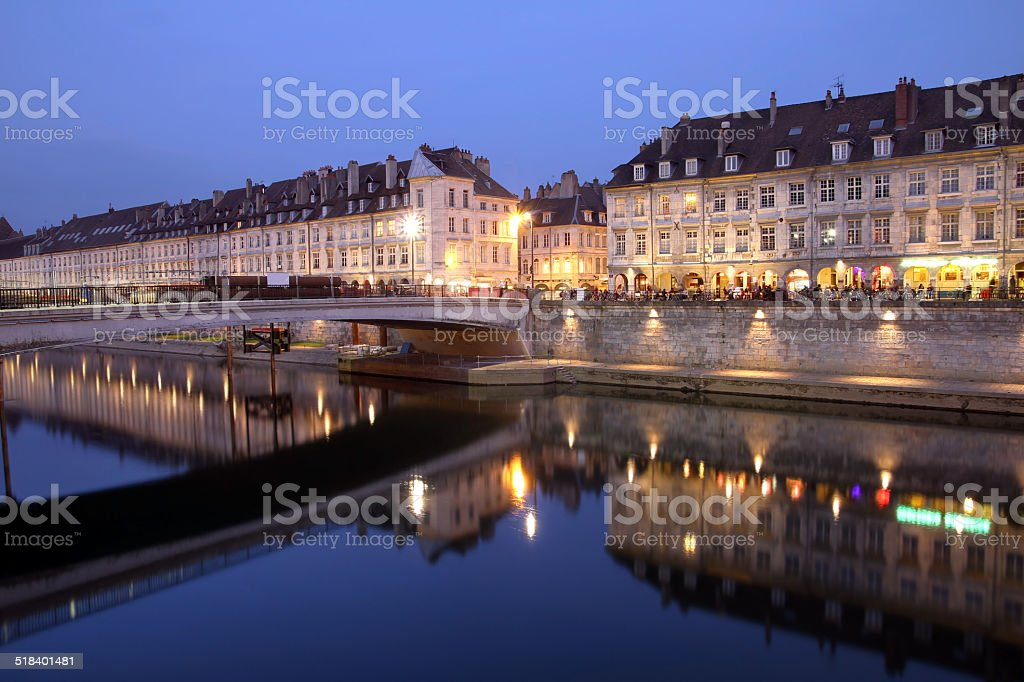 Besancon at night, France stock photo