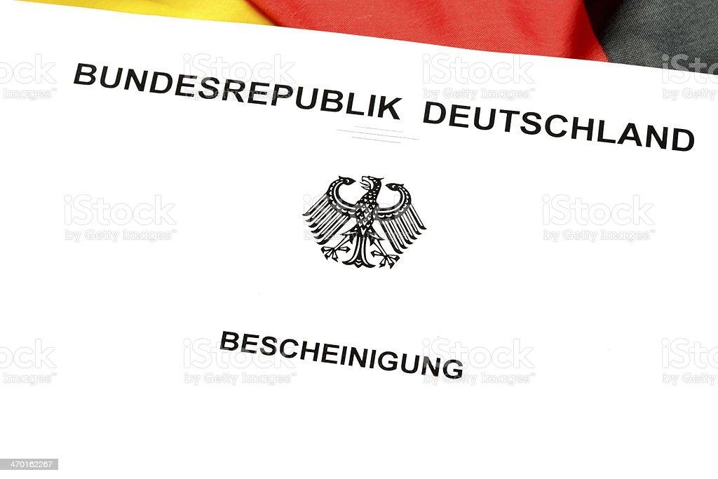 Bescheinigung Bundesrepublik Deutschland stock photo