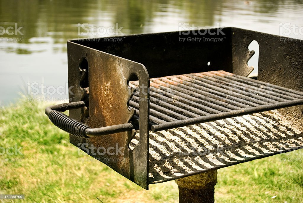 BBQ beside lake stock photo