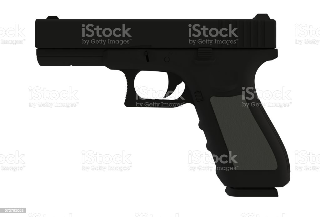 Beside view of black semi automatic 9x19 handgun isolated on white background, 3D rendering stock photo