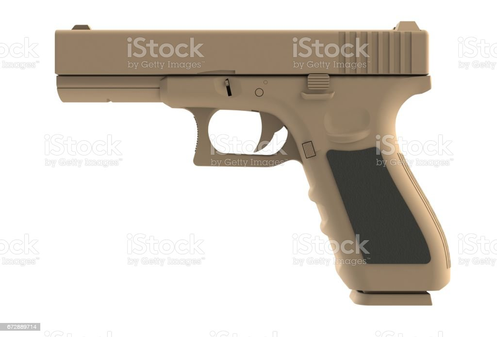 Beside view of brown semi automatic 9x19 handgun isolated on white background, 3D rendering stock photo