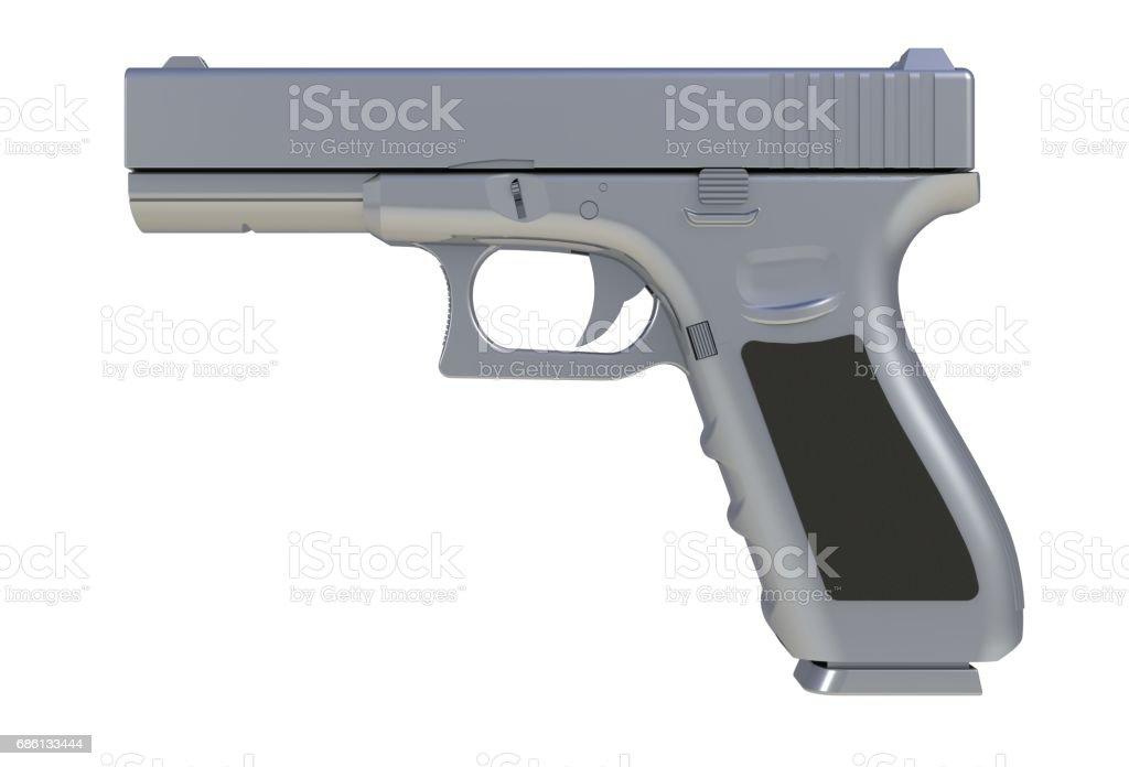 Beside view of chromium semi automatic 9x19 handgun isolated on white background, 3D rendering stock photo