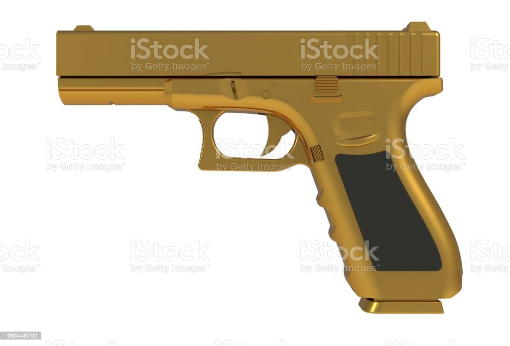 Beside view of gold semi automatic 9x19 handgun isolated on white background, 3D rendering stock photo