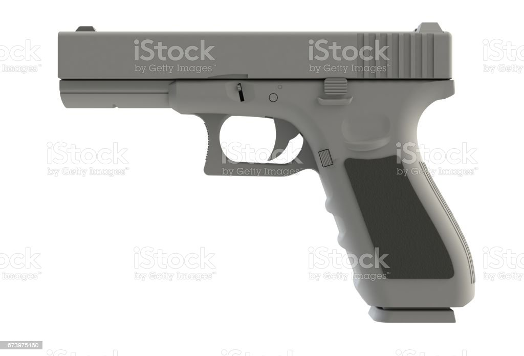 Beside view of white semi automatic 9x19 handgun isolated on white background, 3D rendering stock photo