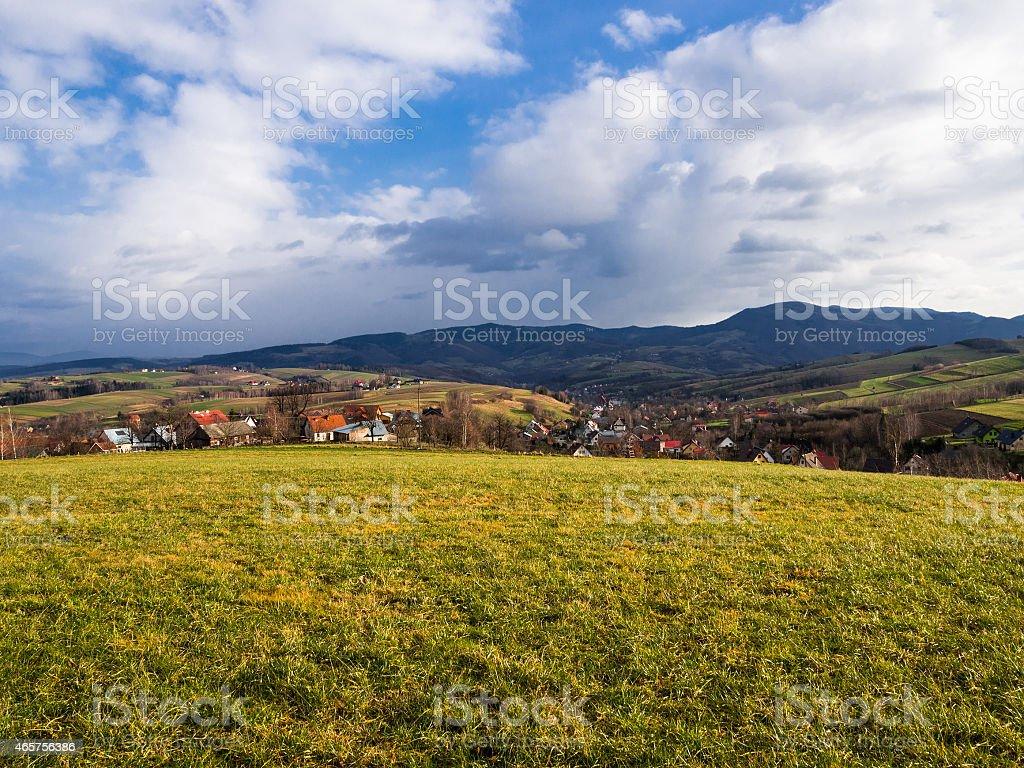 Beskid Mountains. Late Autumn. Przysietnica, Poland. stock photo