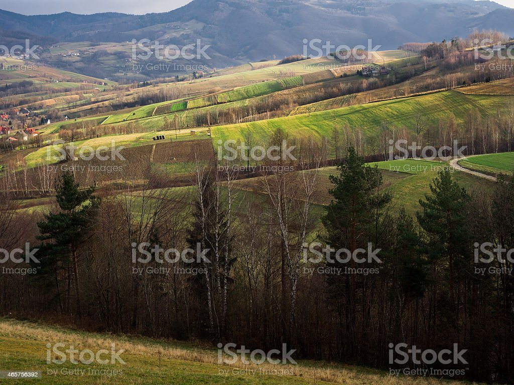 Beskid Mountains. Late Autumn. Przysietnica, Poland. stock photo