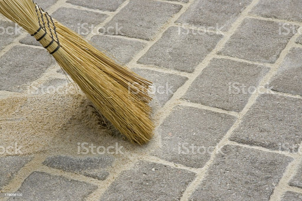 Besom sweeping stock photo