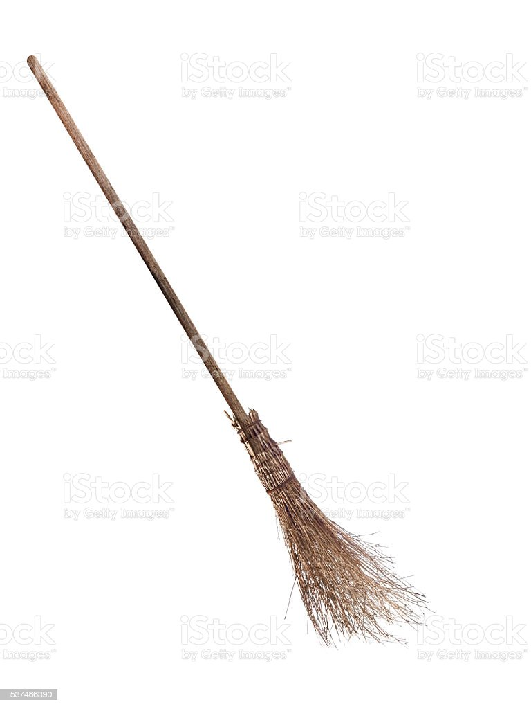 Besom - witch's broom isolated on white. stock photo