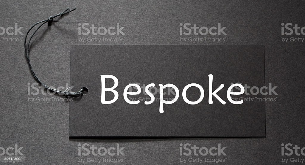 Bespoke text on a black tag stock photo