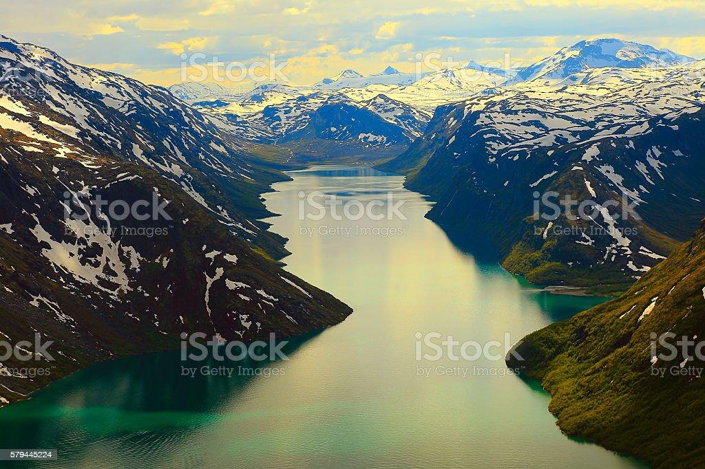 Besseggen Lake Gjende from Above, Jotunheimen, Norway - Scandinavia stock photo