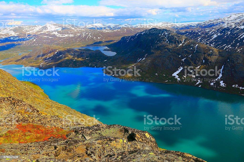 Besseggen, turquoise Lake Gjende from Above, Jotunheimen, Norway - Scandinavia stock photo