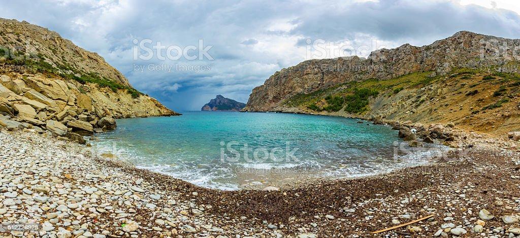 Best Beach Cala Boquer Mallorca Island Tropical Rocky Beach Panorama stock photo